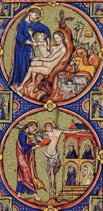 Bible moralisée - Christ removes Eve from Adam's side