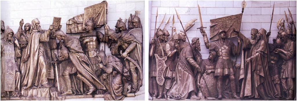Scenes from the bas reliefs on the north face of the Cathedral