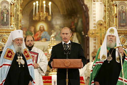 Metropolitan Laurus of ROCOR, Vladimir Putin, and Patriarch Alexey II of the Moscow Patriarchate