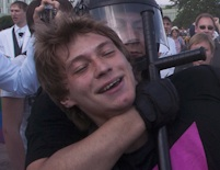Thumbnail depicting pro-LGBT protestor being arrested at a recent rally in St. Petersburg, Russia.