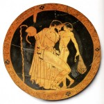 pederastic scene from an Ancient Greek vase painting