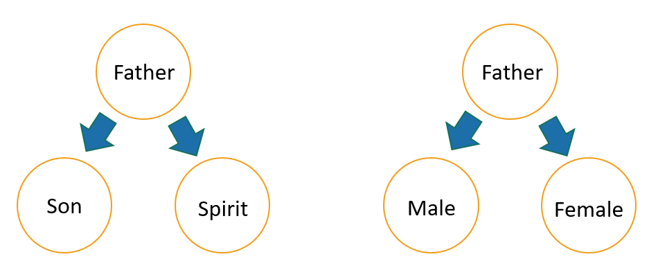Diagram of the Trinitarian Persons analogy with male and female principles